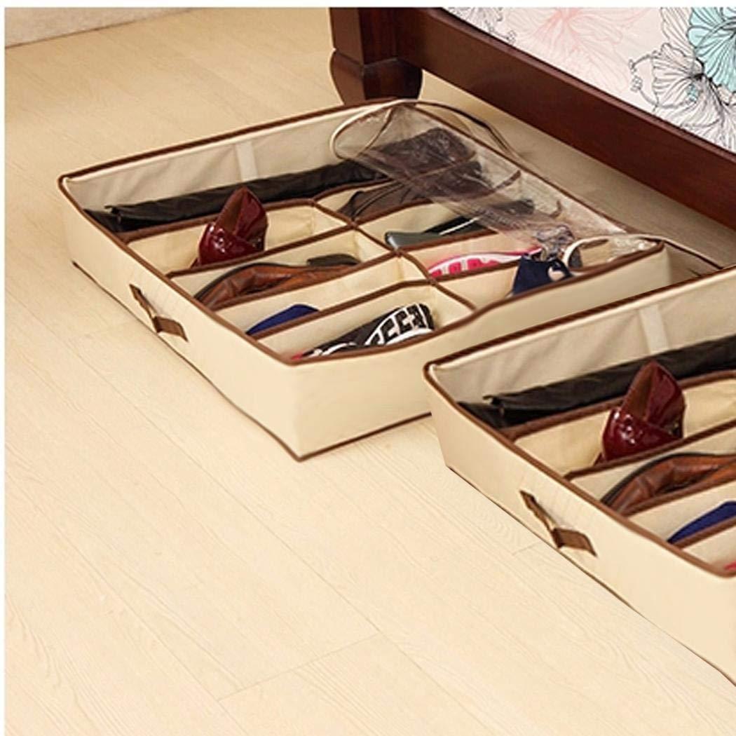 Durchsichtigem PVC-Deckel Yukio HomeFun 67 x 56 x 15 cm Unterbett-Kommode f/ür Schuhe mit 12 F/ächern