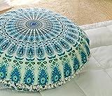 Popular Handicrafts Kp835 Large Hippie Mandala Floor Pillow - Cushion - Pouf Cover Round Bohemian Yoga Decor Floor Cushion Case- 32'' White Teal Green