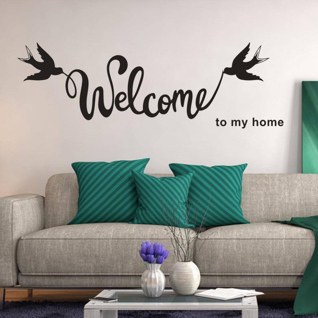 bb47ff5053d24 SMILEQ Lovely Quotes Wall Stickers Welcome To My Home Removable ...