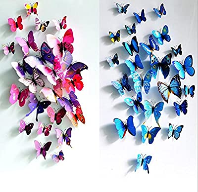 eoorau 60PCS Butterfly Wall Decals for Wall-3D Butterflies Wall Decor Removable Mural Stickers Home Decoration Kids Room Bedroom Decor (5Colors) ¡­