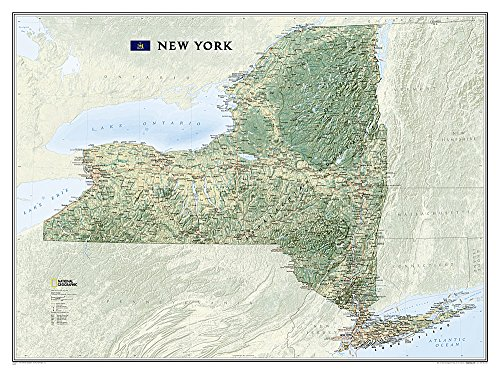 - National Geographic: New York Wall Map - Laminated (40.5 x 30.25 inches) (National Geographic Reference Map)