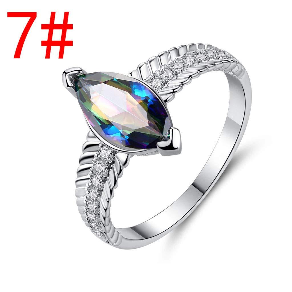 Pstars Women Simple Geometrical Horse Eye Colorful Zircon Ring Jewelry