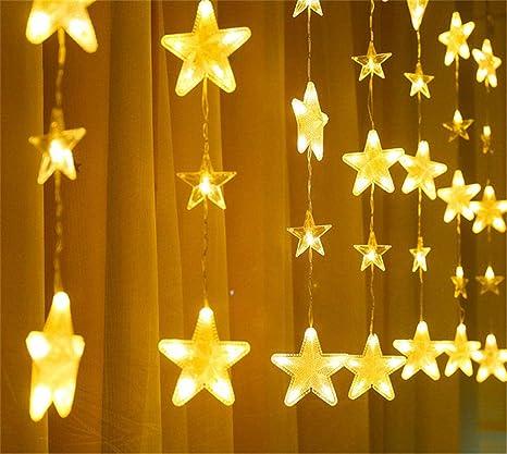 Interno ed esternoLámpara de decoración interior luces de cadena led linternas estrellas pentagonales luces de cortina cumpleaños estrellado@Blanco cálido: Amazon.es: Iluminación