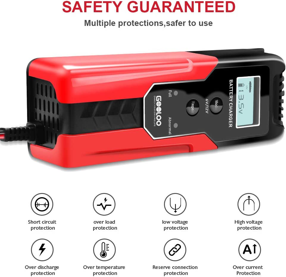 GOOLOO 6//12V 6A Smart Battery Charger and Maintainer Full Automatic 6-Stages Trickle Charging with Clamps for Car Lawn Mower Motorcycle Repair Battery Sealed Lead Acid Battery RV ATV Boat SUV
