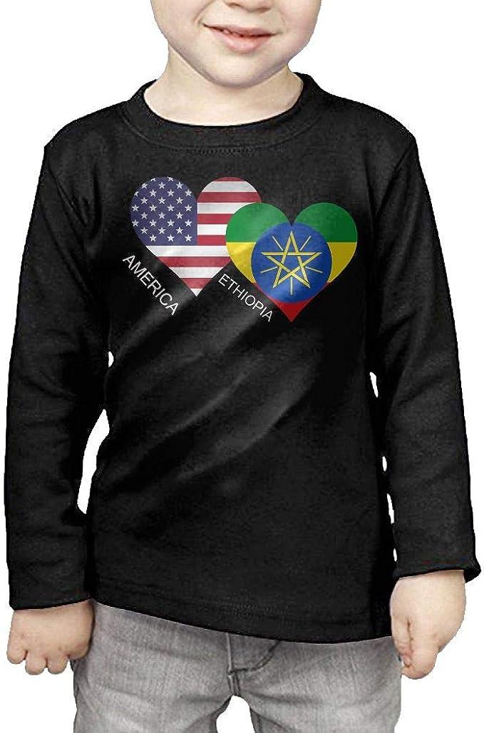 2-6 Years Vfbggg-Shirt Ethiopia USA Flag Heart Baby Girls Short Sleeve Ruffle Tee Cotton Kids T Shirts