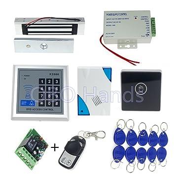 OBO HANDS Puerta de Control de Acceso RFID Cerradura magnetica Teclado + electrónica + Fuente de alimentacion + RFID keyfob + Puerta + Touch Boton de Salida ...
