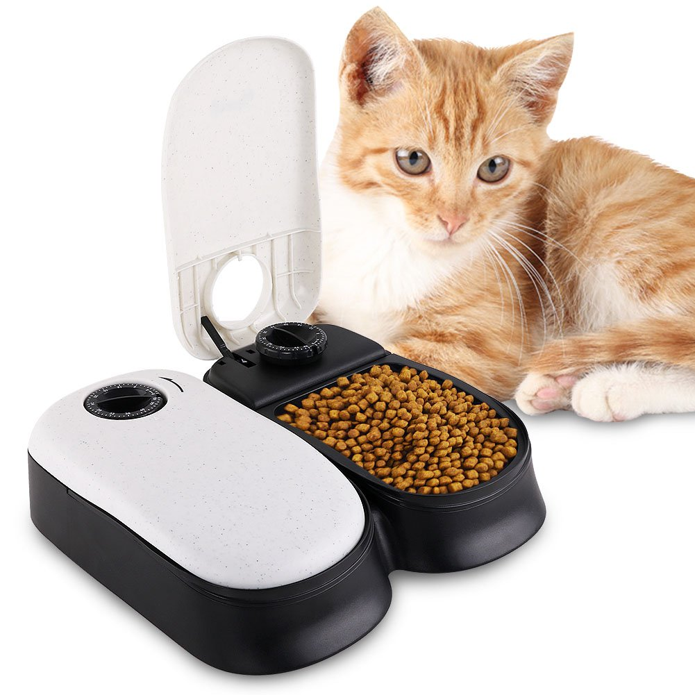 HaveGet Automatic Pet Feeder 2 Meal Timer feeder Dispenses Easy to Clean Timed Food Bowl for Dog Cat and Small Animals