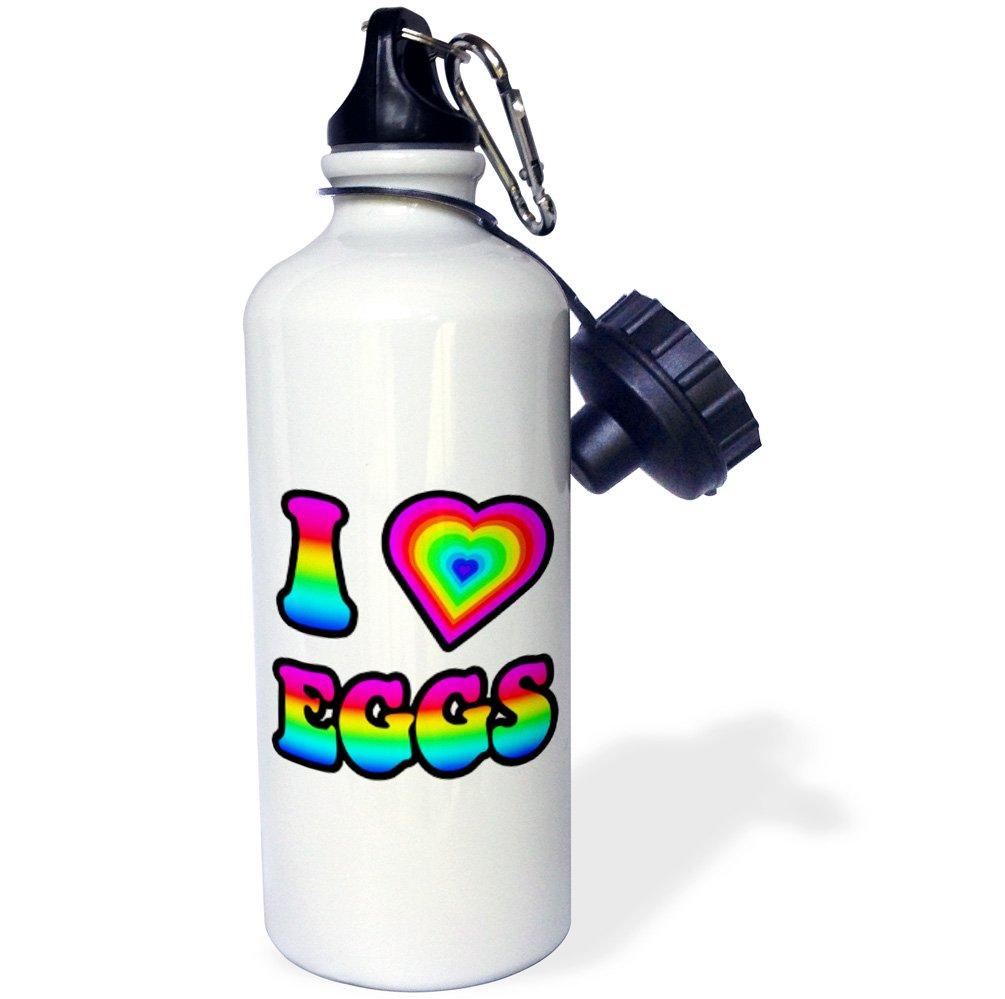 3dRose Groovy Hippie Rainbow I Heart Love Eggs-Sports Water Bottle 21oz wb/_217417/_1 21 oz Multicolored