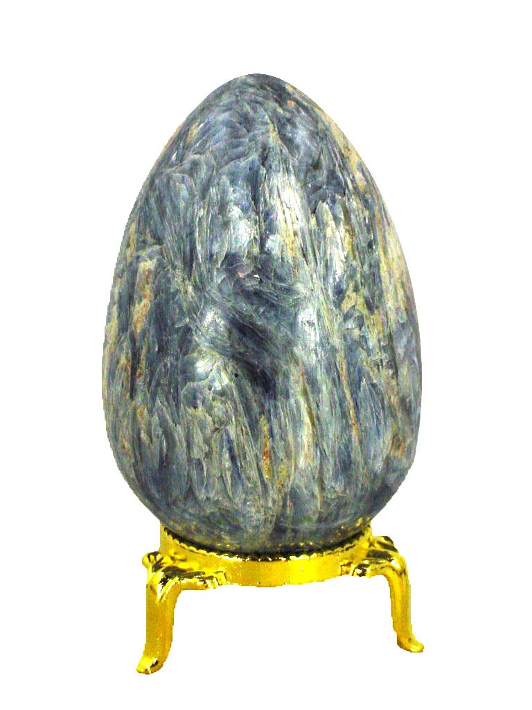 Kyanite Stone Healing Egg 70mm x 46mm Reiki Activated Lapidary with Stand