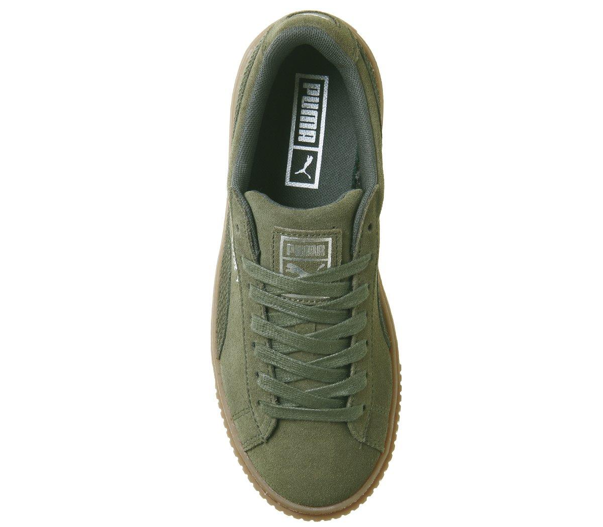 Puma Sneaker Damen Basket Platform Metallic Sneaker Puma Olive Night Silver (Kaki) f4fa53