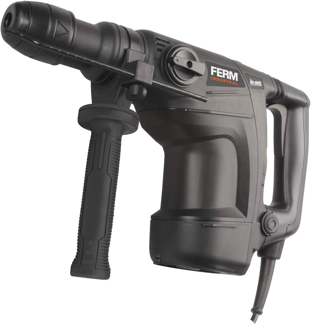 FERM Professional 1100 W, velocidad variable, para taladrar, cincelar y taladrar, incluye mango lateral, tope de profundidad y malet/ín Martillo perforador