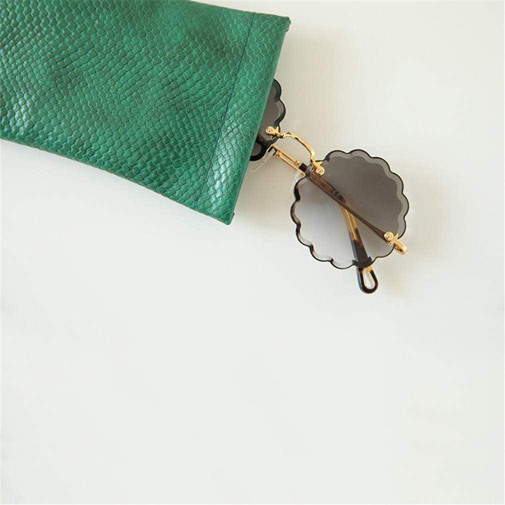 Estuche para Gafas de Piel de Serpiente para Viajes de Hombres y Mujeres,Azul Hengxing Bolso Suave de Las Lentes de Las Gafas de Sol