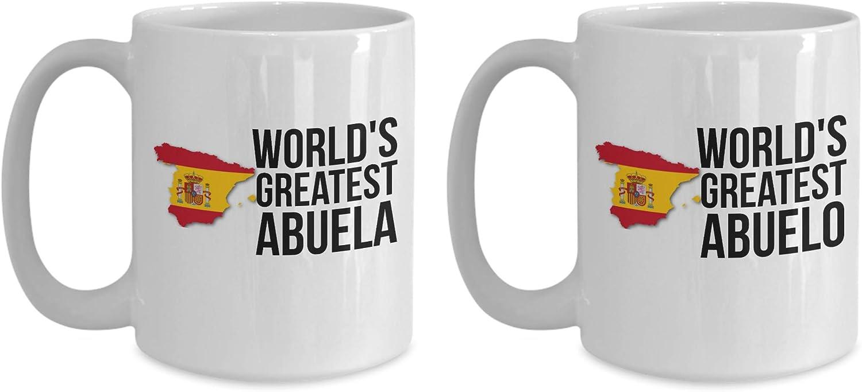 Abuelo and Abuela - Juego de tazas de café para abuelos con bandera española, cumpleaños, día de la madre y del padre, regalo de Navidad para hombres y mujeres con orgullo español: