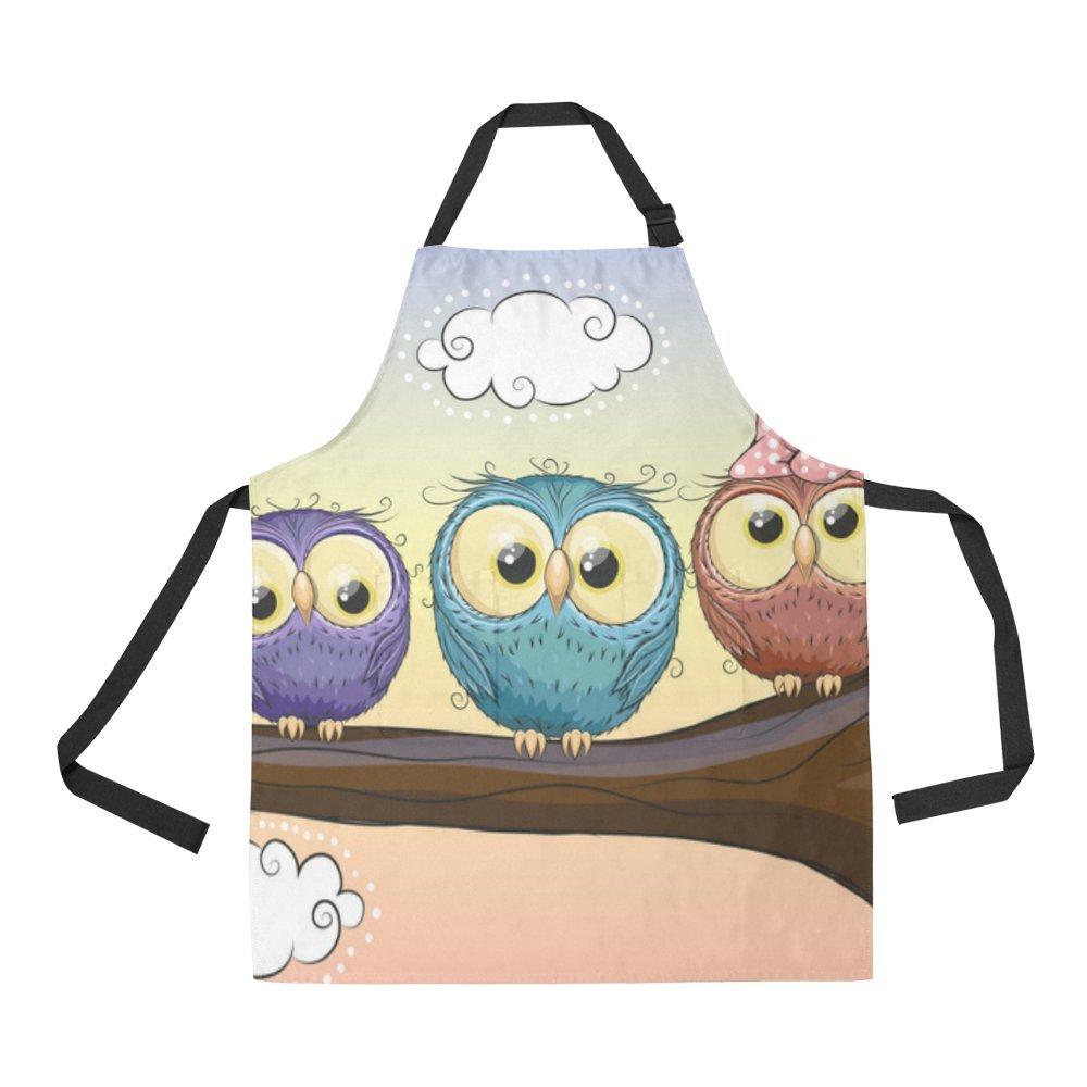 InterestPrint Lovely Owls Bib Apron With 2 Pockets Cooking Gardening Aprons For Women Men
