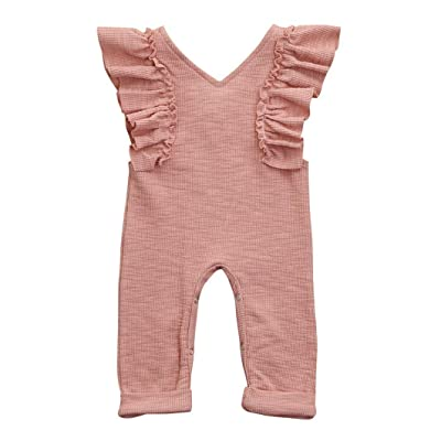 c7e30fe99f4a Winsummer Toddler Baby Girl Sleeveless Thin Knitted Ruffled Bodysuit  Rompers Jumpsuit Harem Pant Onesies Overalls