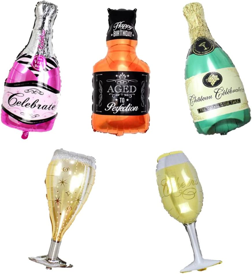 ED-Lumos Set of 5 Pack Giant Wine Bottle Glasses Reusable Helium Balloons for Birthday Party Decoration Children Kids Gift