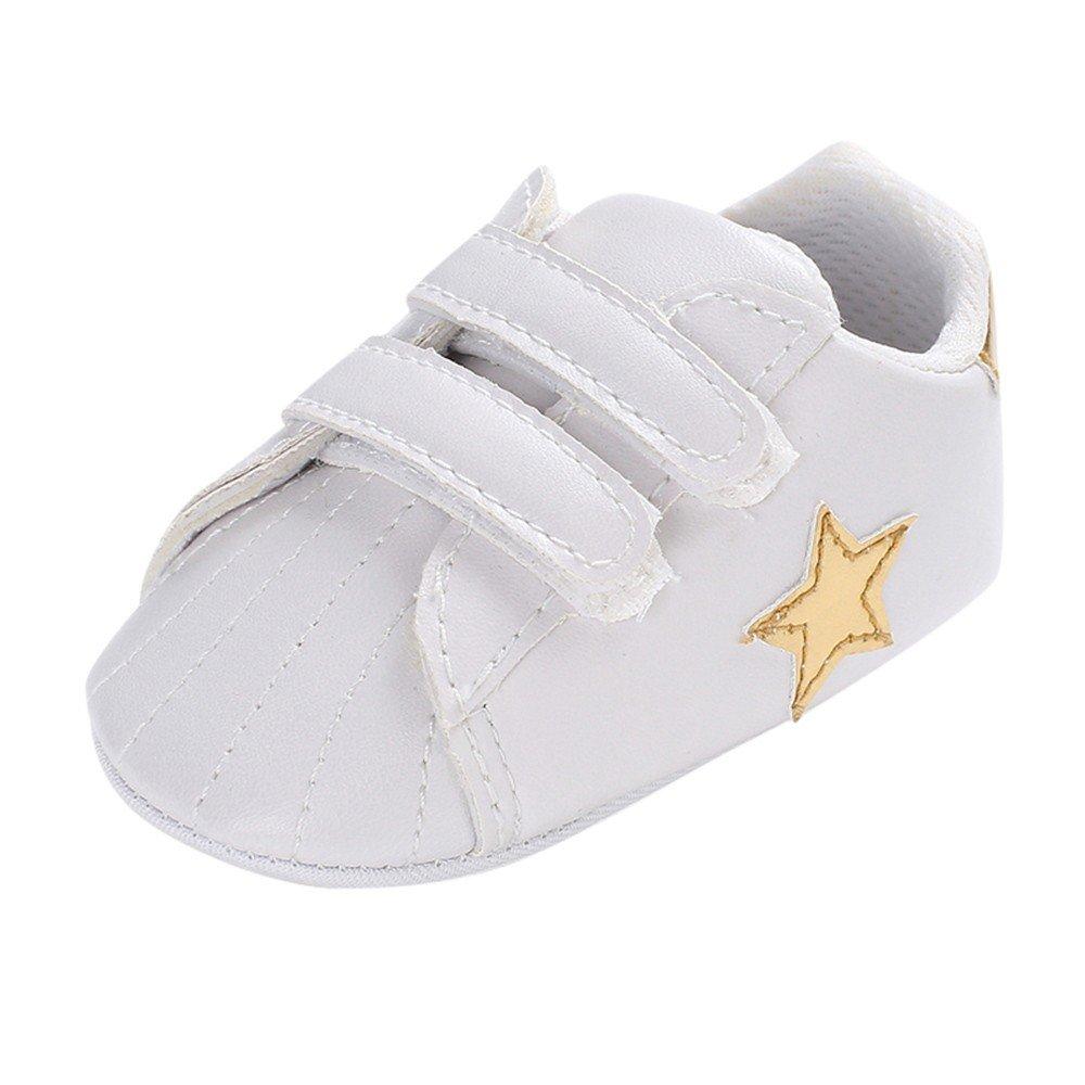 Robemon Bottes Enfant garçon Fille Unisexe étoiles Velcro bébé Tout-Petit Sport Chaussures Blanc 0-18 Mois