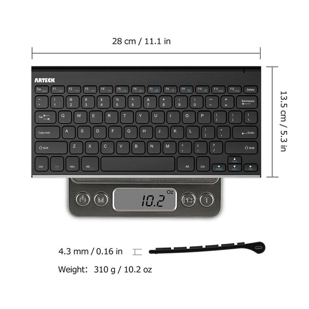 Arteck 2.4G Wireless Keyboard Ultra Compact Slim Full Size Keyboard for Desktop//PC//Laptop and Windows 10//8 Vista//XP 7