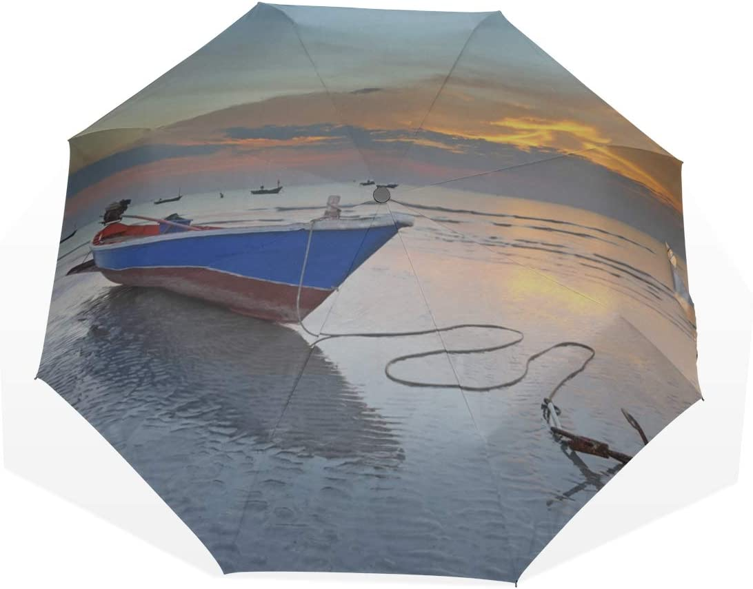Paraguas de Viaje Ancla de un Barco de Vela Viejo en el Puerto Anti UV Compacto 3 Fold Art Ligero Paraguas Plegables (impresión Exterior) Lluvia a Prueba de Viento Paraguas de protección Solar para m