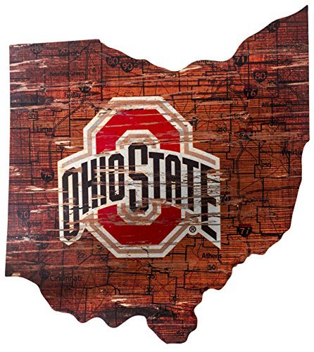 Ruskin352 Ohio State Buckeyes 24inch x 21inch State Cutout with Logo Wood Sign ()