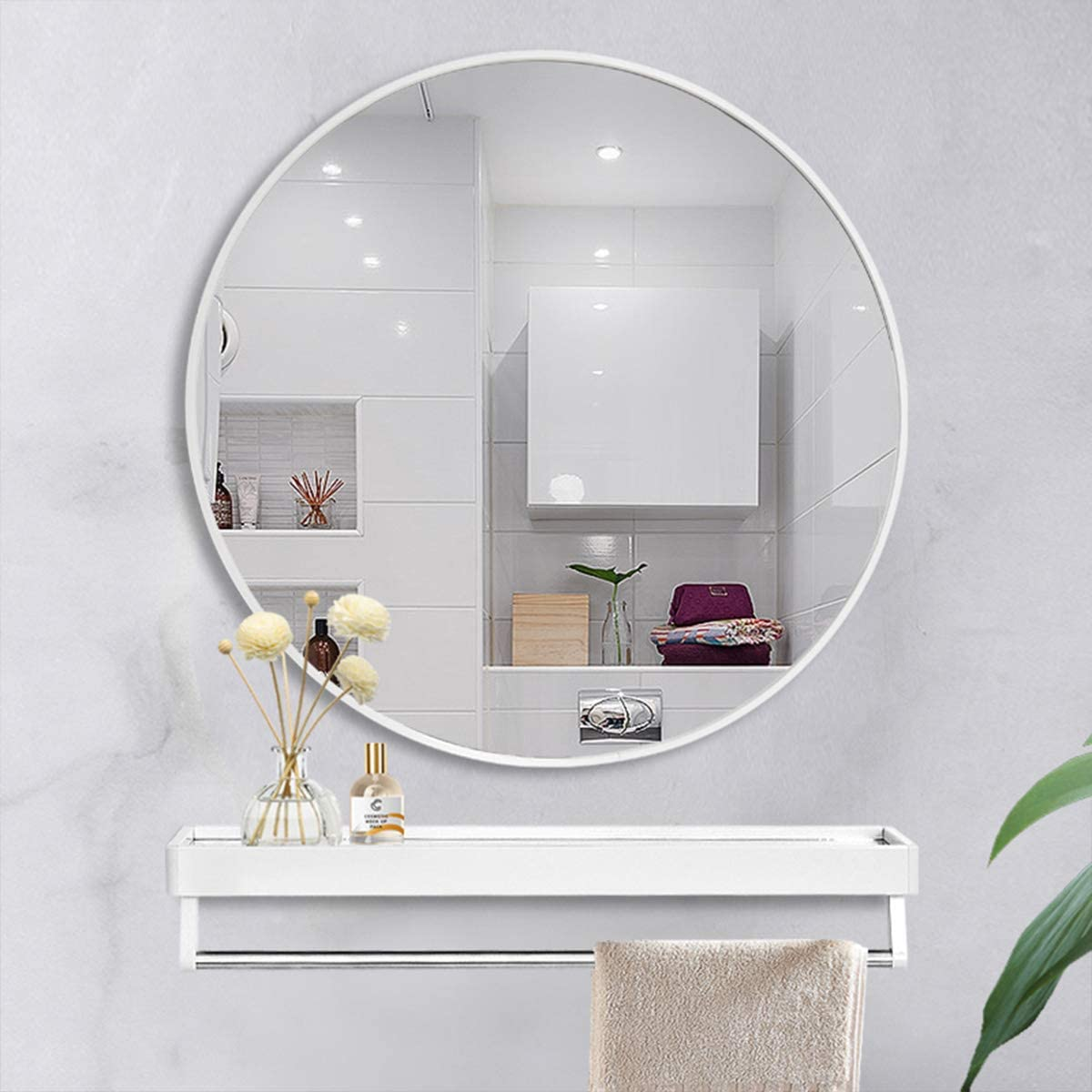 OGCAU White Round Mirrors for Wall Decor 32 Inch Circle Mirror White Metal Round Wall Mirror for Bathroom, Entry, Dining Room, Living Room Crafts. White Round Mirror for Wall, Vanity Mirror