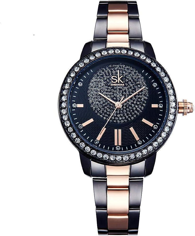 SHENGKE Relojes de Mujer Banda de Cuero Relojes de Cuarzo de Lujo Vestido para Mujer Reloj de Pulsera