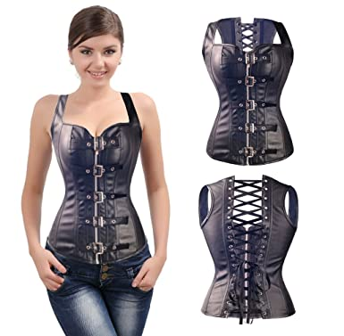 5b000d565c SAYFUT Spiral Steel Boned PU Faux Leather Steampunk Waist Trainer Corset  Bustier