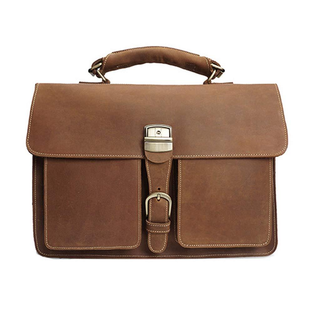 ラップトップバッグ、ブリーフケース メンズヴィンテージレザーメッセンジャーバッグ本革作業ブリーフケース ビジネスバッグ (色 : 褐色) B07P17SRF6 褐色