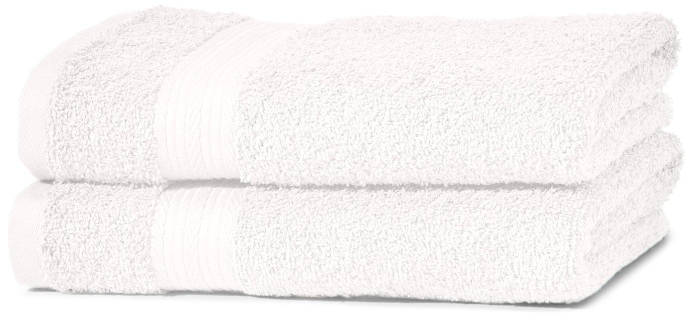 AmazonBasics - Juego de toallas (colores resistentes, 2 toallas de manos), color blanco: Amazon.es: Hogar