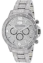 Luxurman Mens Diamond Watches: Fully Iced Out Watch 1.25ct