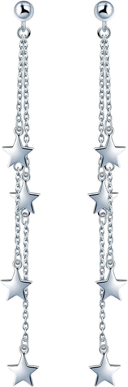 Yumilok Pendientes Largos de Plata de Ley 925 Hipoalergénico Pendientes Estrellas Idea Regalo para Mujeres Chicas