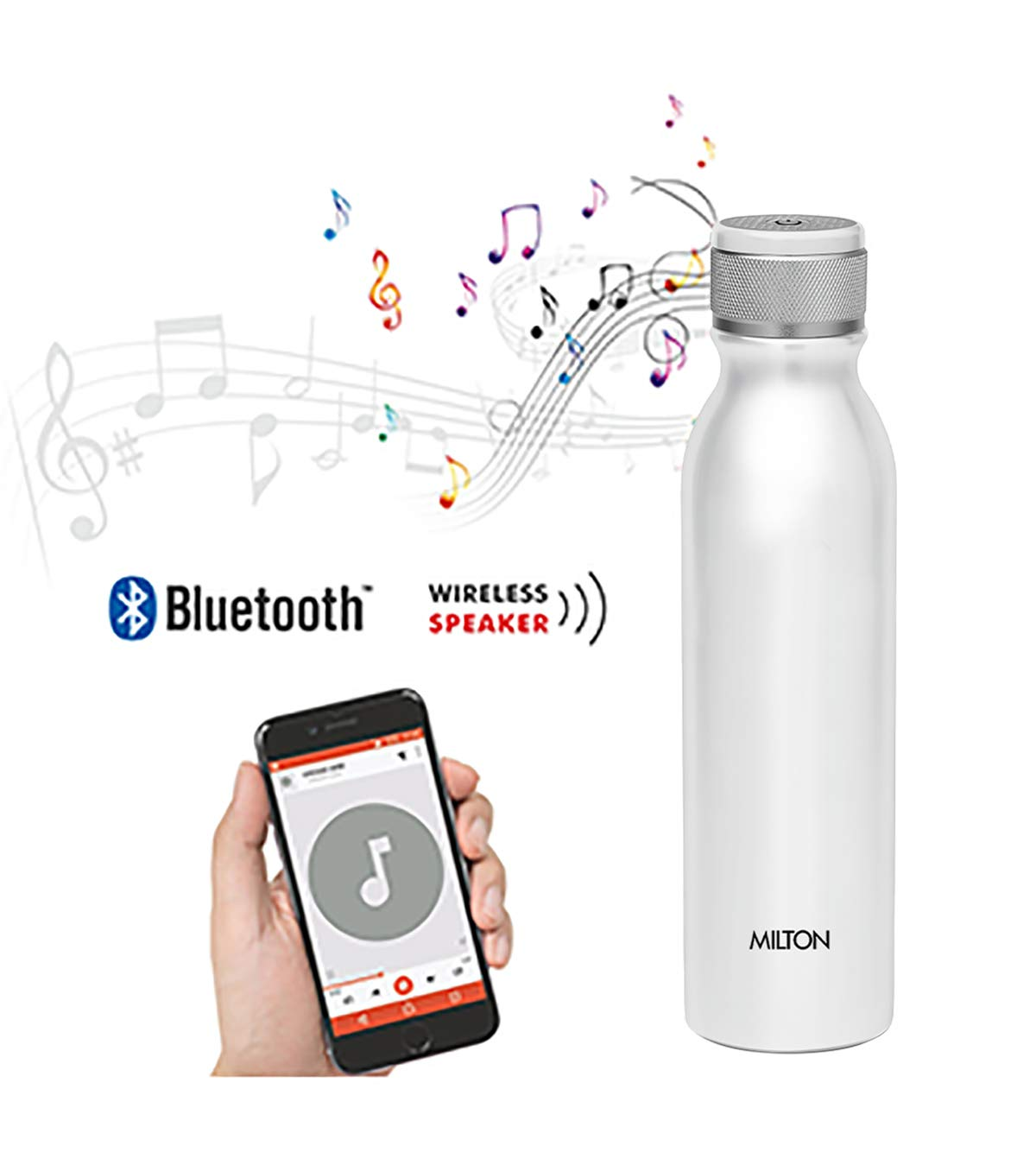 Milton Rhythm 900 Stainless Steel Bottle with Wireless Bluetooth Speaker, Silver 900 Bottle (Pack of 1)