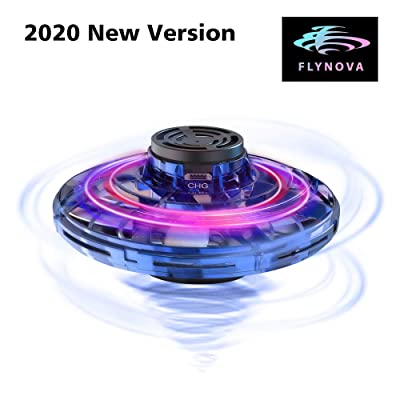 FlyNova Flying Spinner, 2020 Upgraded The Most Tricked-Out Hand Drones for Kids Adults, Hand Operated Drone with 360° Rotation and RGB Lights, Mini Drone Interactive Toys for Boys or Girls (Blue): Toys & Games