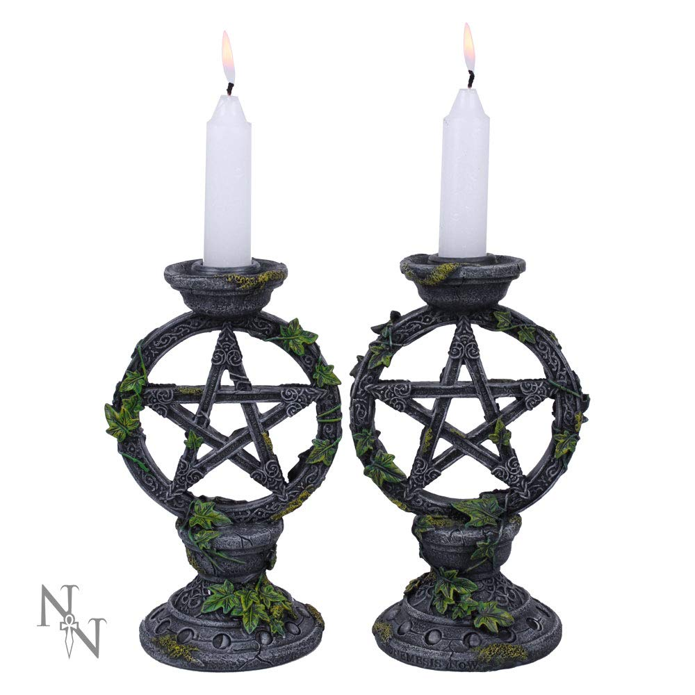 Nemesis now–Set di 2portacandele di grigio pentagramma Wicca–15cm