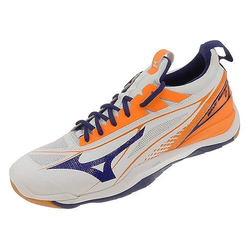 Mizuno - Zapatillas de Balonmano de Sintético para Hombre Weiss Blau Orange, Color, Talla