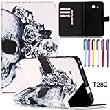 Hismo Samsung Galaxy Tablet Case T230 T280 Smart Stand Case Pu Leather Wallet Case Card Slot Case Cover with Auto Sleep/Wake Feature for Samsung Galaxy T377 T550 T560(T280 Skull)