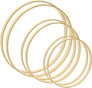Worown 6pcs 3 Sizes (12, 14 & 16 Inch) Large Wooden Bamboo Floral Hoops Wreath Rings for Making Wedding Wreath Decor and Wall Hanging Craft