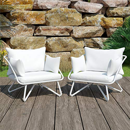 (Novogratz 88061WHTE 2 Piece Poolside Teddi Outdoor Lounge Chairs, White)