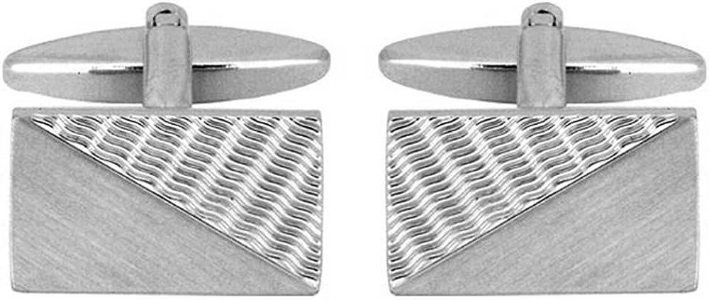 David Van Hagen Mens Wave Engraved Cufflinks Silver