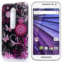Moto G 3rd Gen Hard Case, CoverON® Slim Non-Slip Art Design Cover [Slender Fit Series] Phone Case For Motorola Moto G 3rd Generation 2015 - Pink Butterfly