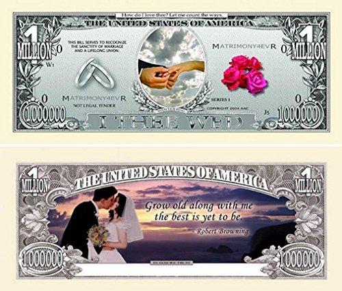 "10 Wedding Million Dollar Bills with Bonus ""Thanks a Million"" Gift Card Set"