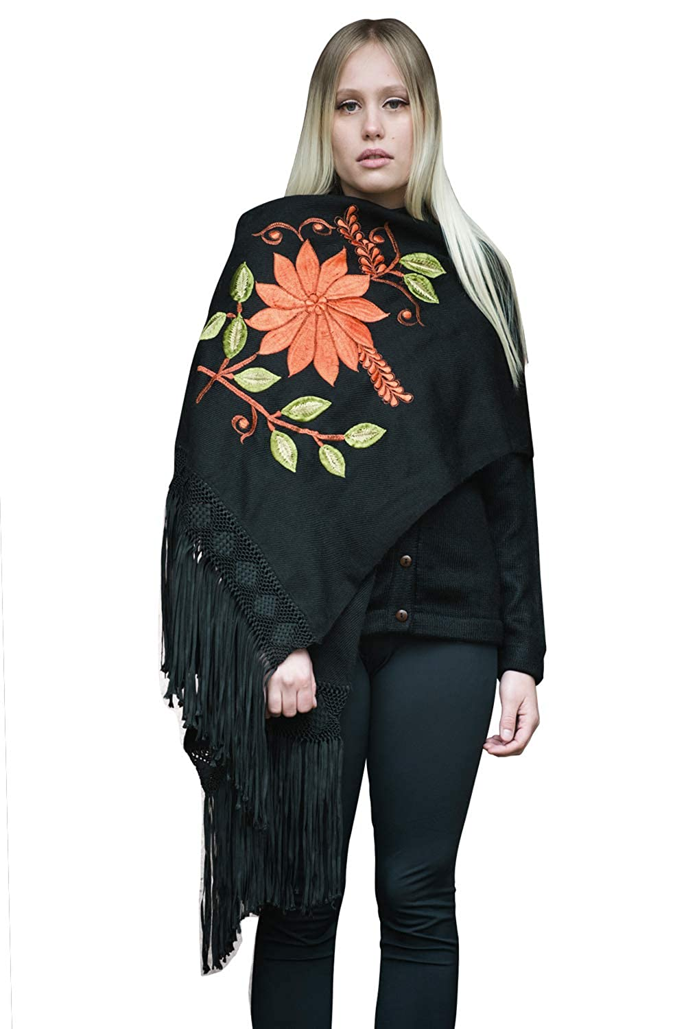 Gamboa Black Shawl with Flowers for Women