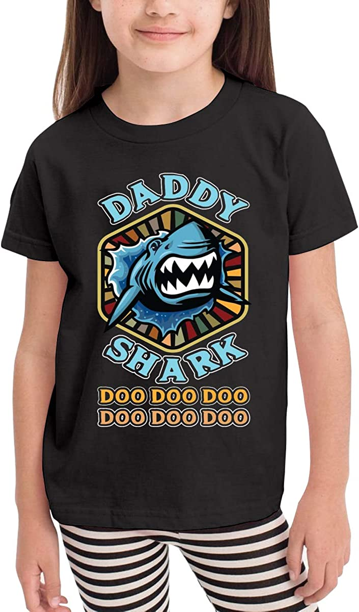 Kids Vintage Daddy Shark Cotton T Shirt Lightweight Breathable Solid Tee for Toddler Boys Girls