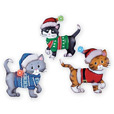 lighted christmas cats outdoor decoration set of 3 - Outdoor Lighted Animal Christmas Decorations