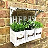 Vintage Country Style Wooden Wall Garden Planter Pots Herb Window Box Basket