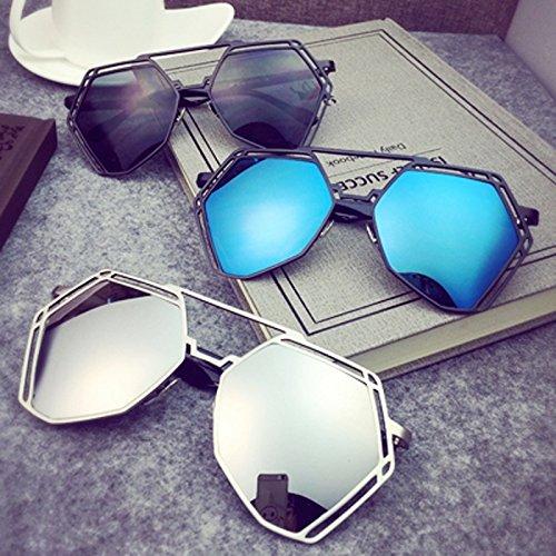 Espejo Azul reflexiva de Plata hueco Color color Personalidad Metal Anti de Gafas Negro UVA Metal Azul Polvo Unisex sol Europa HLMMM Polvo a7wXqw