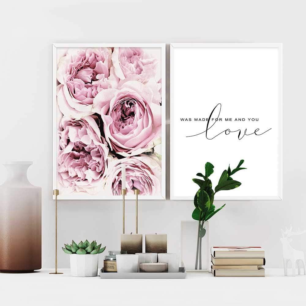 Nordic Ideas 2 Piezas Posters Flor Rosa Citas de Amor Cuadros Blanco y Negro Decoración Lienzo Decorativo Pared Dormitorio Laminas Impresión Fotografica PTGL001-L