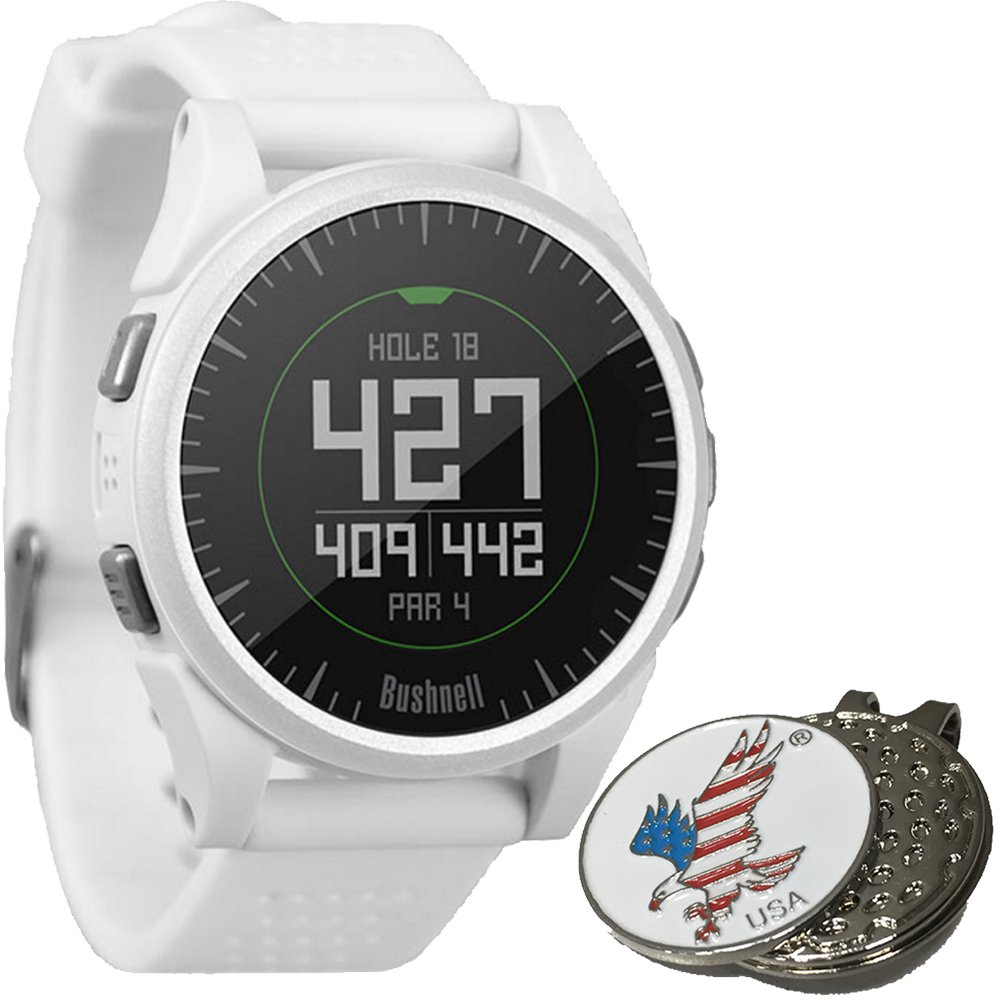 Bushnell 2017 Excel Golf GPS Watch Rangefinder (WHITE) Comes with 1 Custom Ball Marker Hat Clip Set (American Eagle) 35,000+ Worldwide Courses