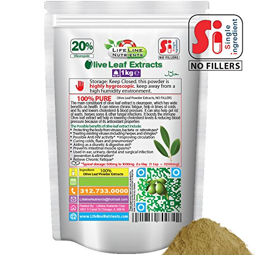Olive Leaf Powder Extract, 20% Oleuropein - Free Shipping, 1kg (2.2lbs) by Lifeline Nutrients