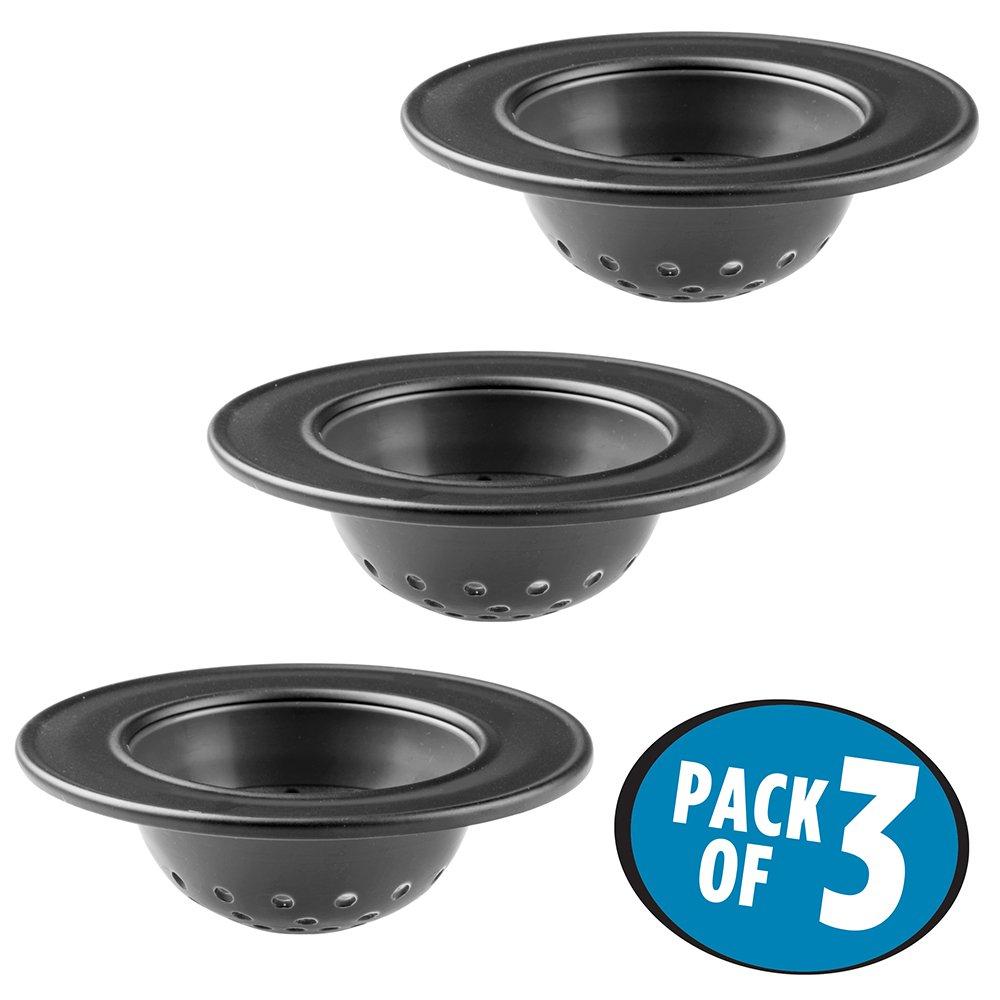 mDesign Kitchen Sink Drain Strainer - Pack of 3, Black by mDesign